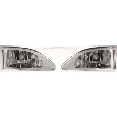 1994-1998 Ford Mustang Clear Head Light,w/Bulb,Diamond Design,Chrome