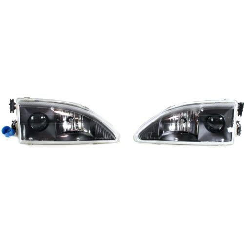 1994-1998 Ford Mustang Crystal Clear Head Light,All w/Projector,Set