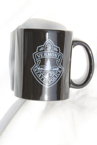 Vermont State Police Coffee Mug - Black with Gray VSP Seal