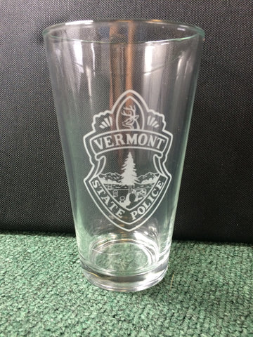 Vermont State Police 16 oz Drinking Glass