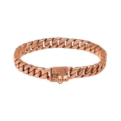 Miami Rose Gold Dog Collar for Large Dogs Stainless Steel  Cuban Link Luxury and Strong Dog Collars for XL Unique High Quality Rose Gold Cuban Link Dog Collars  - BIG DOG CHAINS