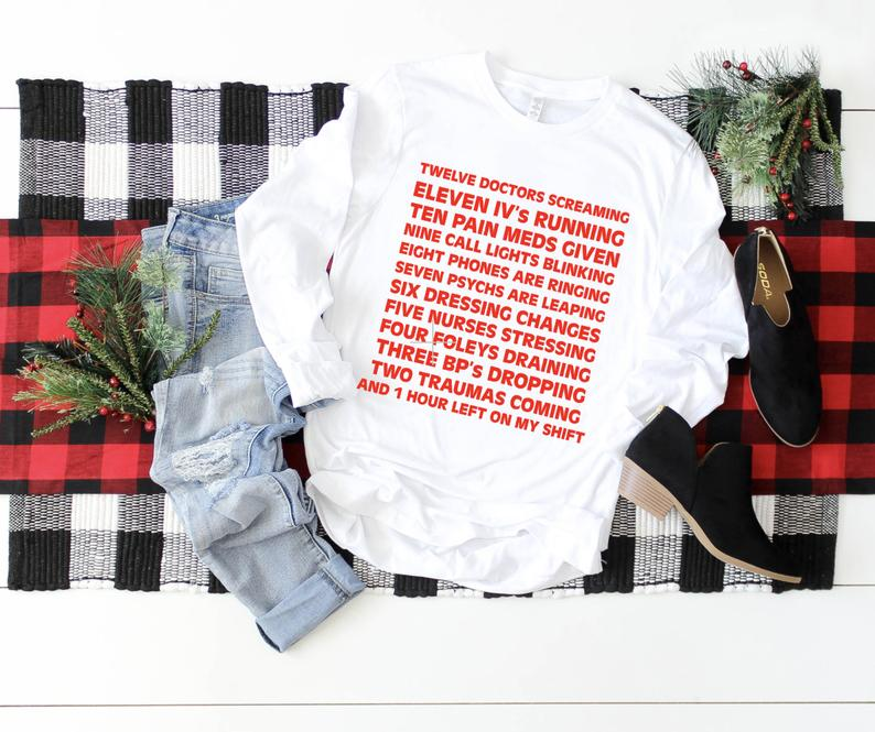Shirt: 12 Days of Nurses' Christmas, Long Sleeve