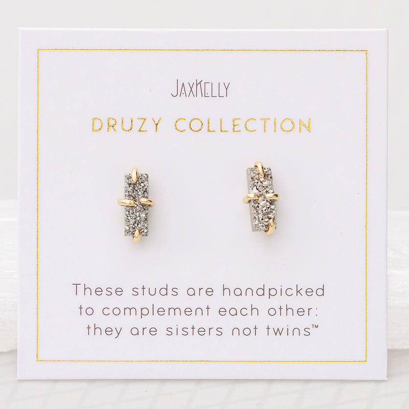 Silver Bar Druzy Earrings
