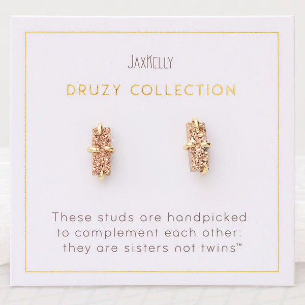 Rose Gold Bar Druzy Earrings