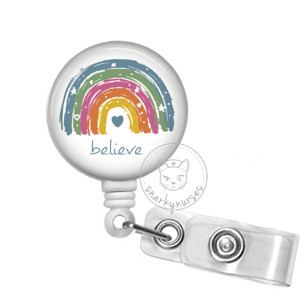 Badge Reel: Rainbow (Hope, Inspire, Peace, Love, Unite, Believe) - Multiple Colors!