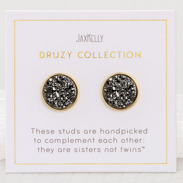 Round Black Druzy Earrings