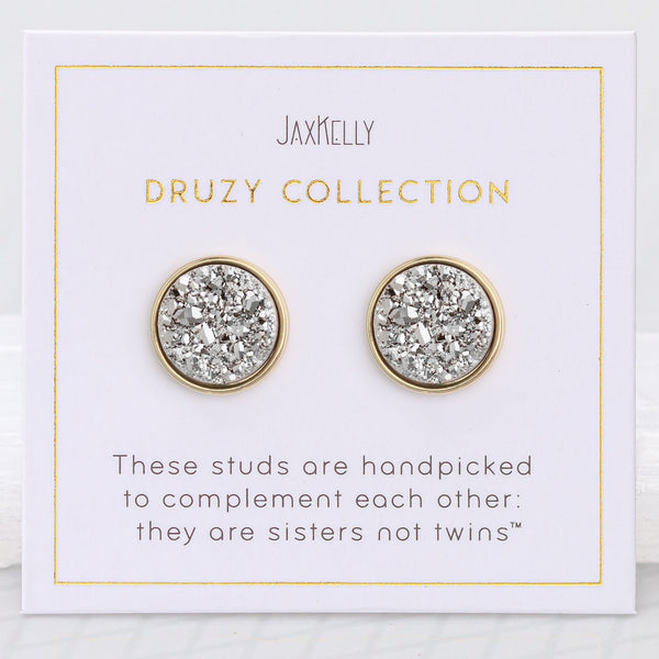 Round Silver Druzy Earrings