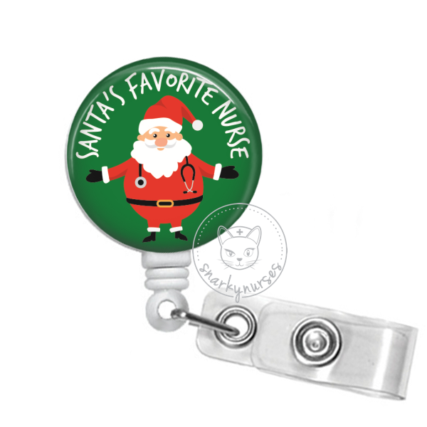 Badge Reel: Santa's Favorite Nurse - Multiple Colors!