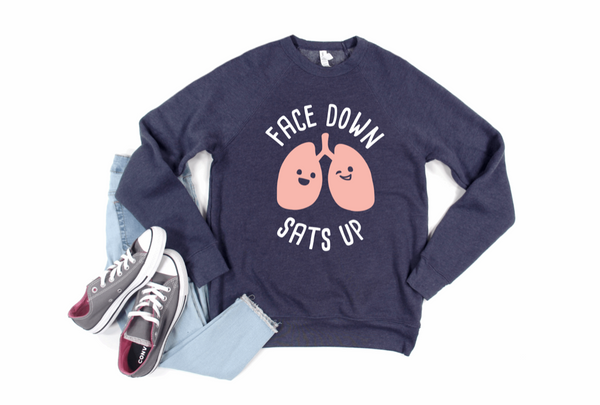 Sweatshirt: Face Down Sats Up