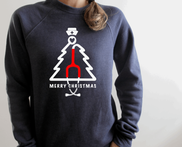 Sweatshirt: Stethoscope Christmas Tree