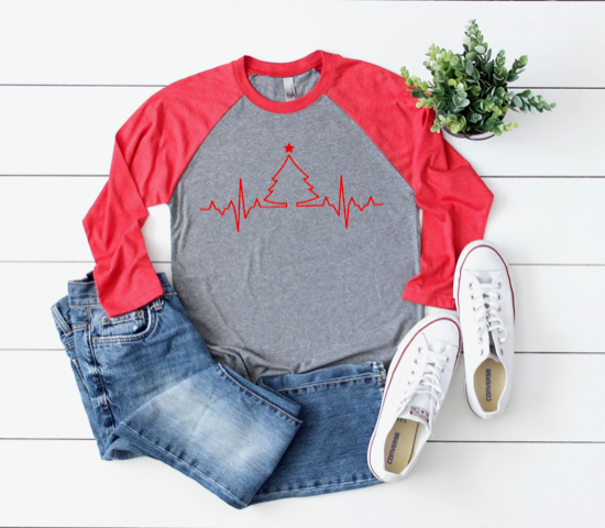 Shirt: EKG Christmas Tree, Baseball Raglan