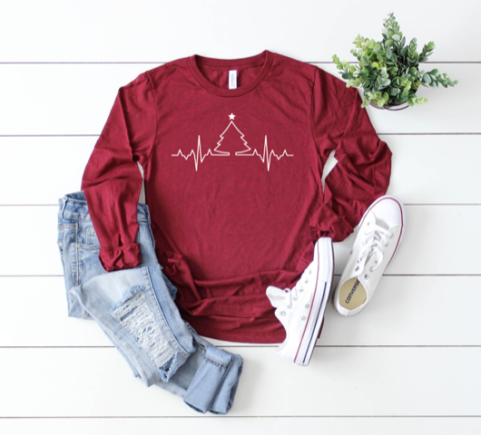Shirt: EKG Christmas Tree, Long Sleeve