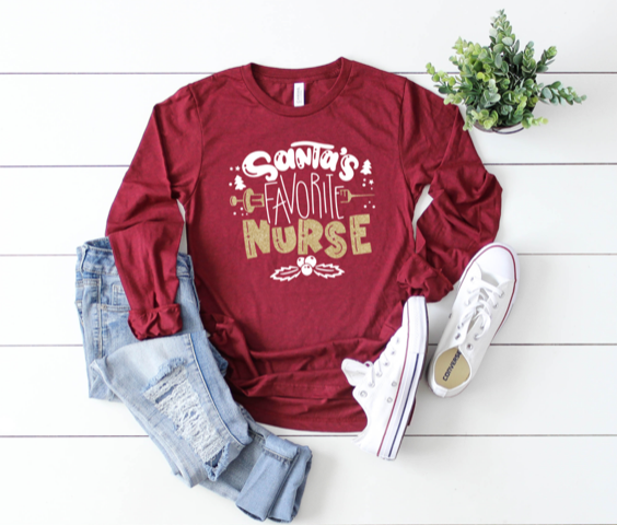 Shirt: Santa's Favorite Nurse, Long Sleeve