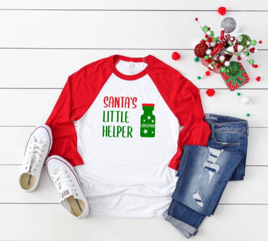 Shirt: Santa's Little Helper, Baseball Raglan