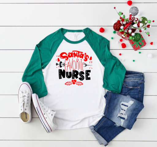 Shirt: Santa's Favorite Nurse, Baseball Raglan