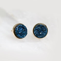 Round Blue Druzy Earrings