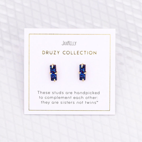 Blue Bar Druzy Earrings