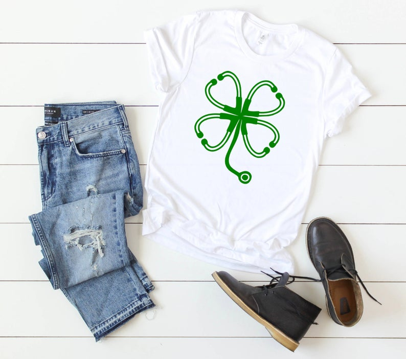 Shirt: Stethoscope Four Leaf Clover - St. Patrick's Day