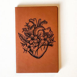 Leather Notebook: Floral Heart