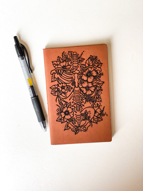 Leather Notebook: Floral Spine