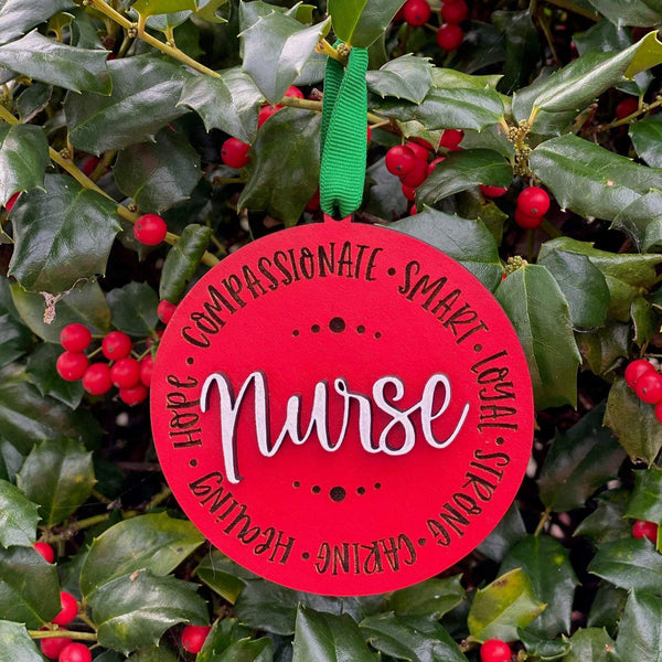 Ornament: Nurse - Order by midnight 12/13 for arrival by Christmas!