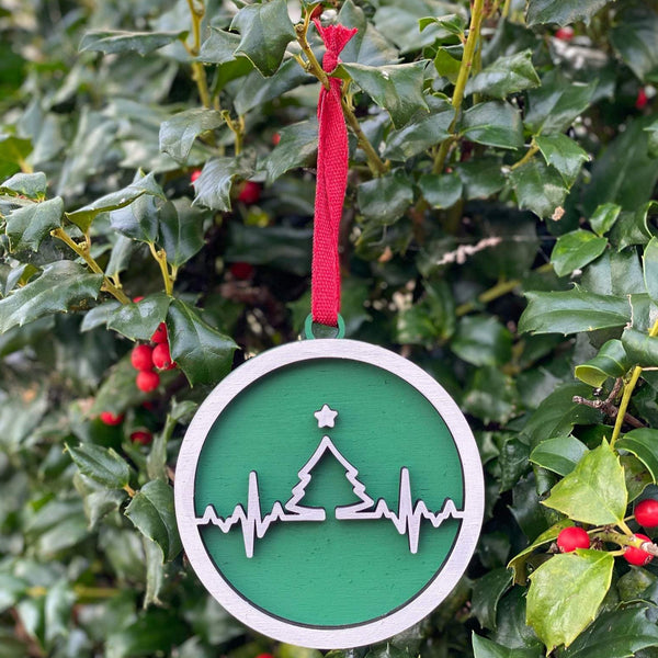 Ornament: EKG Tree - Order by midnight 12/13 for arrival by Christmas!