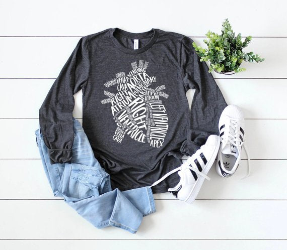 Shirt: Typographical Heart, Long Sleeve