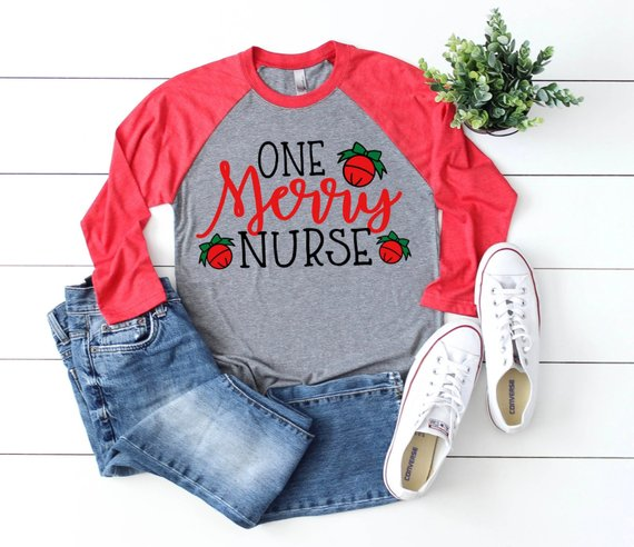 Shirt: One Merry Nurse, Baseball Raglan