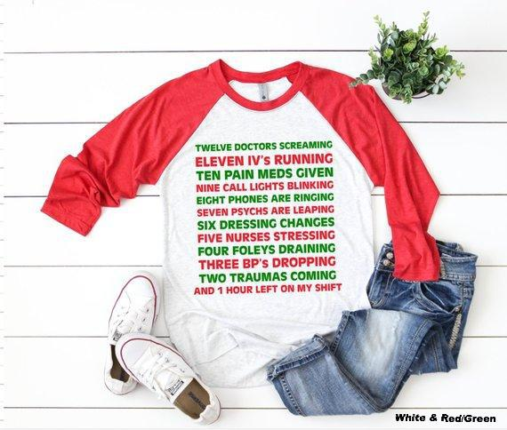 Shirt: 12 Days of Nurses' Christmas, Baseball Raglan