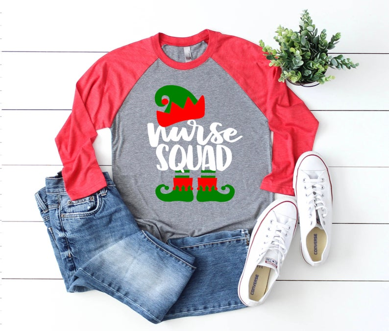Shirt: Elf Nurse Squad, Baseball Raglan