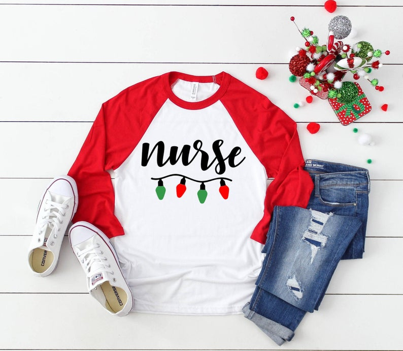 Shirt: Nurse Christmas Lights, Baseball Raglan