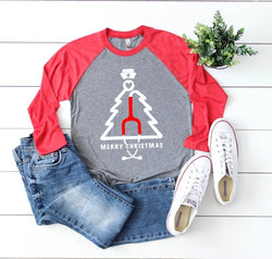 Shirt: Stethoscope Christmas Tree, Baseball Raglan