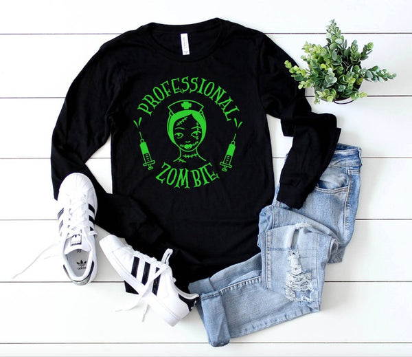 Shirt: Professional Zombie - Long Sleeve [Halloween]