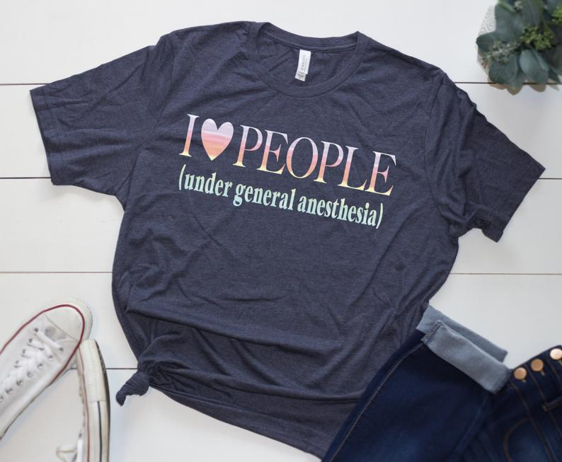 Shirt: I Love People, Under General Anesthesia [Watercolor]
