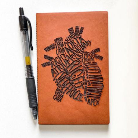 Leather Notebook: Word Heart