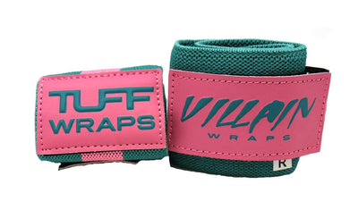 Pink & Teal Villain Sidekick Wrist Wraps 16""