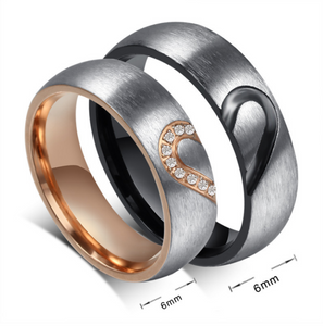 Matching Heart Couple Rings (set)