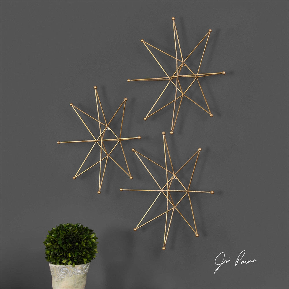 Uttermost Gold Stars Wall Art, Set of 3