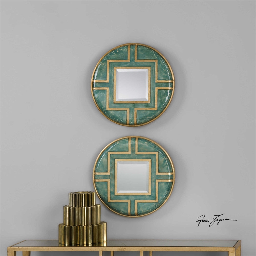 Uttermost Amina Round Mirrors, Set of 2