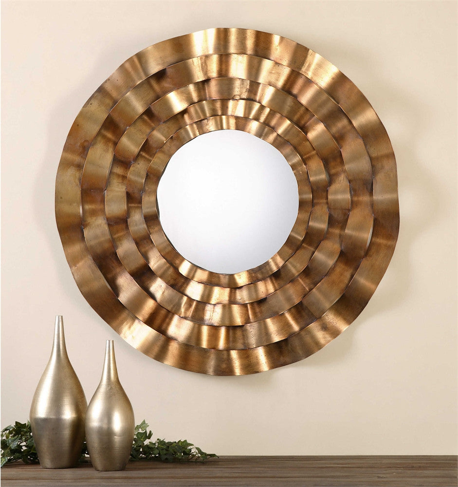 Uttermost Follonica Antiqued Gold Round Mirror