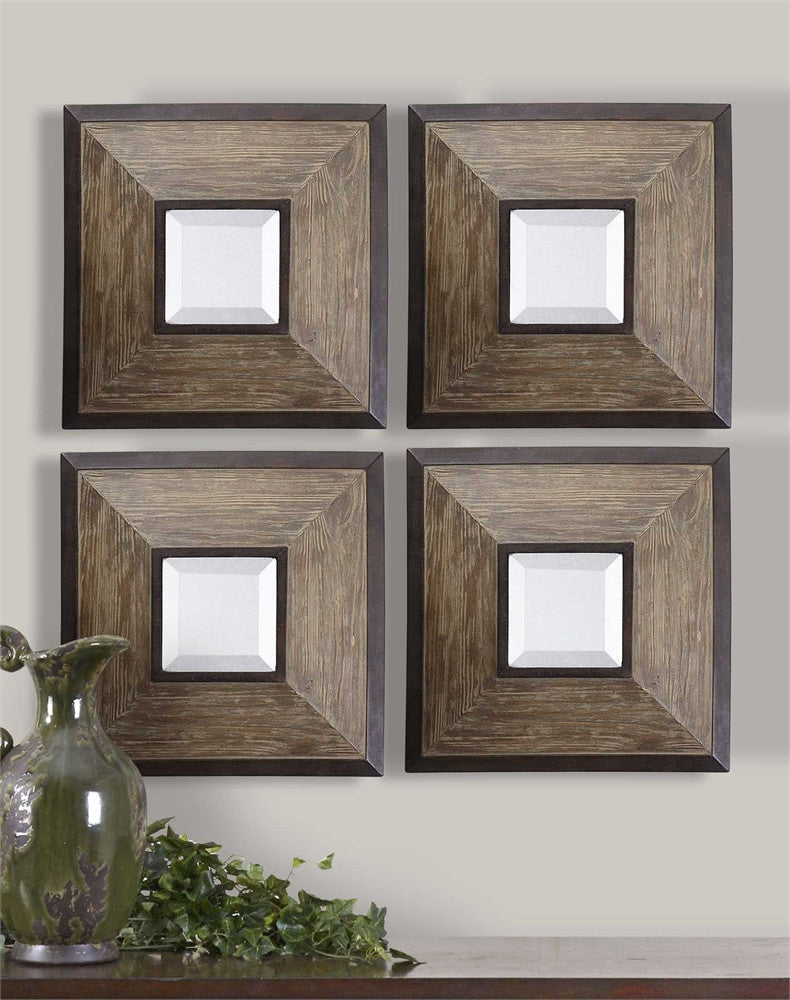 Uttermost Fendrel Squares Wood Mirror Set of 4