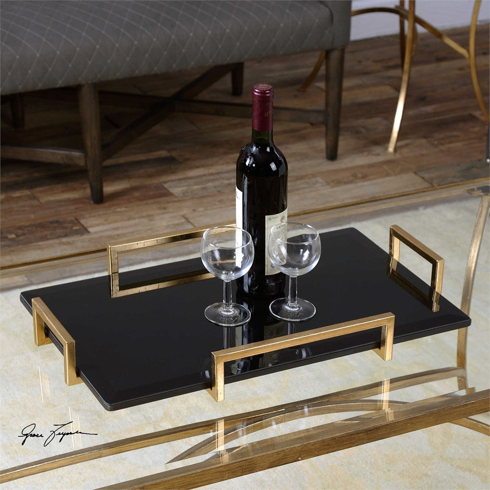 Uttermost Ettore Black Glass Tray