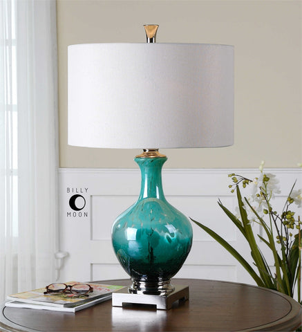 Uttermost Yvonne Green Blue Glass Table Lamp