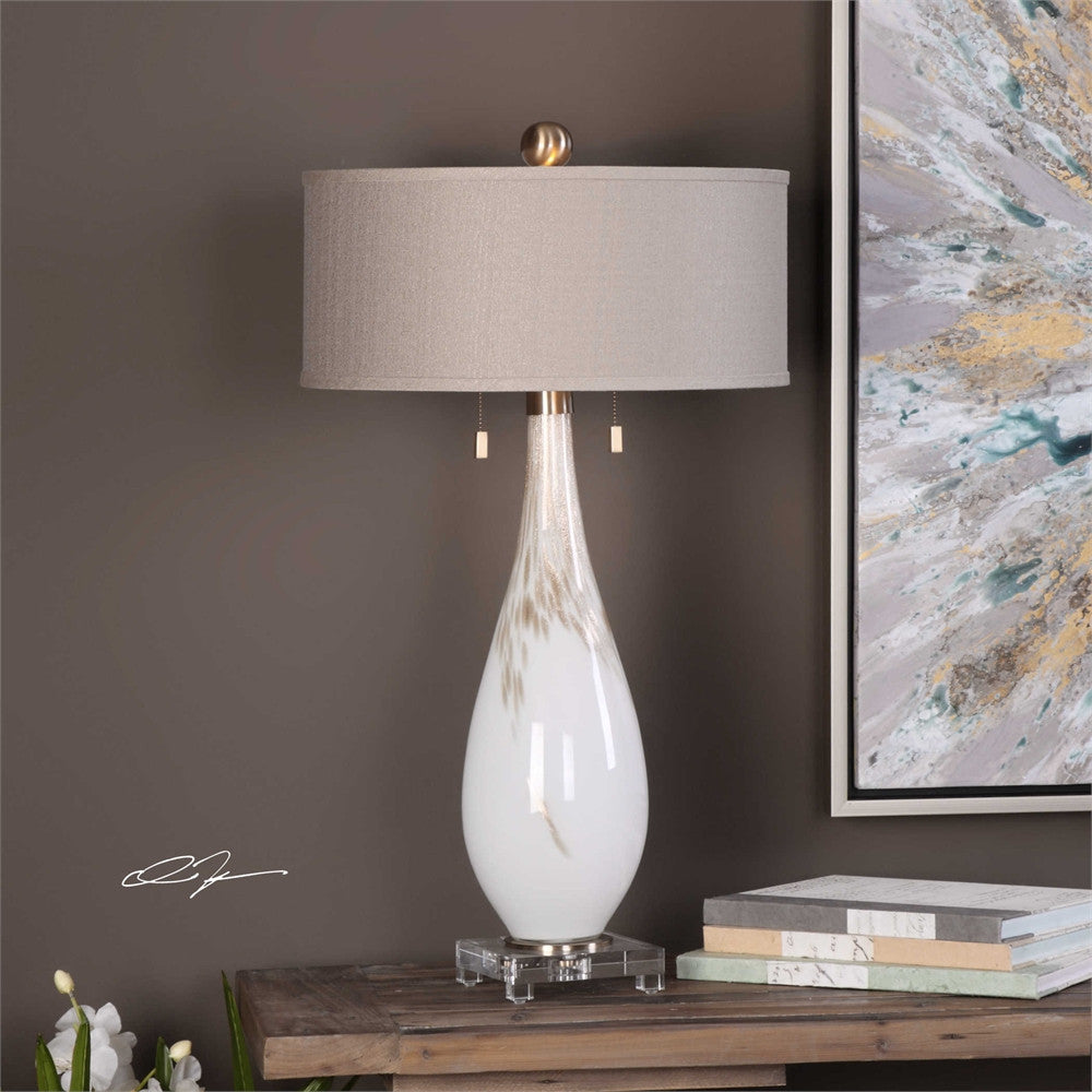 Uttermost Cardoni White Glass Table Lamp