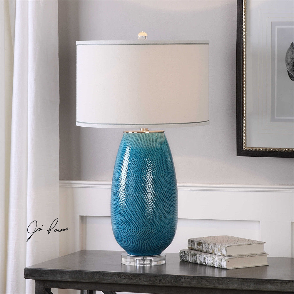 Uttermost Friona Blue Glaze Table Lamp