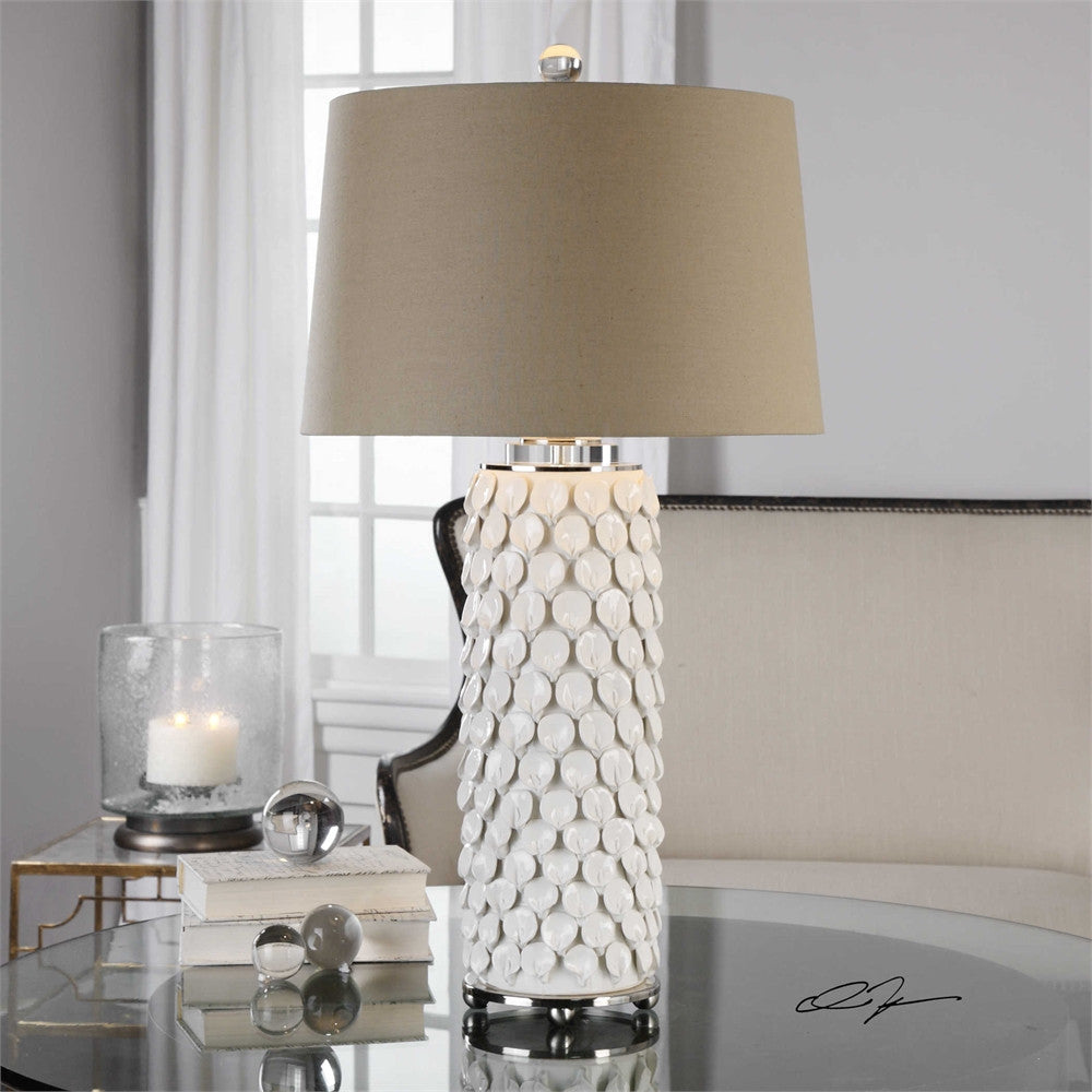 Uttermost Calla Lillies Gloss White Lamp