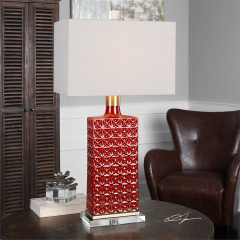 Uttermost Alimos Glazed Red Ceramic Lamp