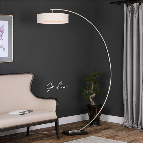 Uttermost Tagus Nickel Arc Floor Lamp