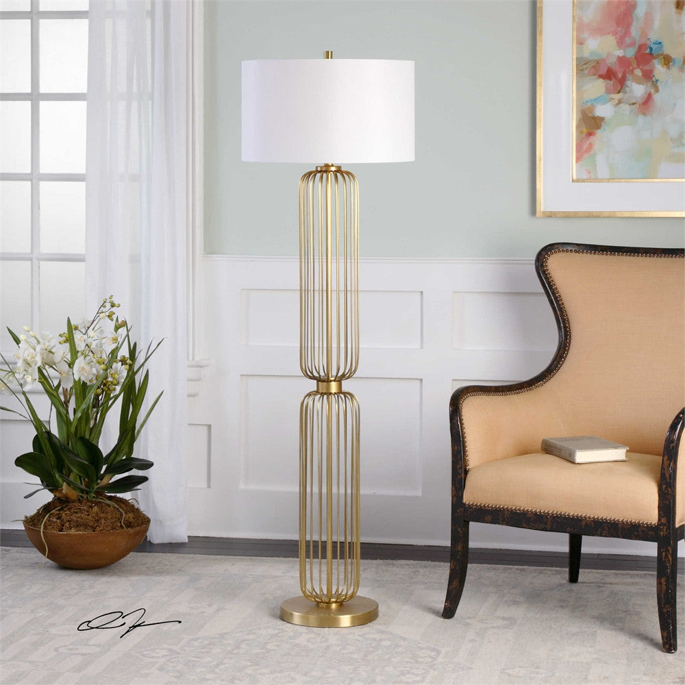 Uttermost Cesinali Gold Cage Floor Lamp