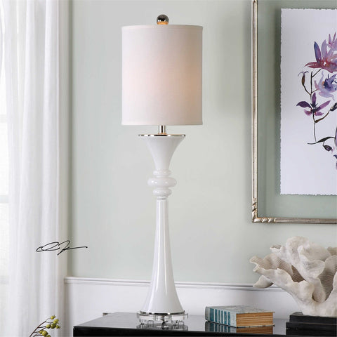 Uttermost Gwyn Gloss White Buffet Lamp